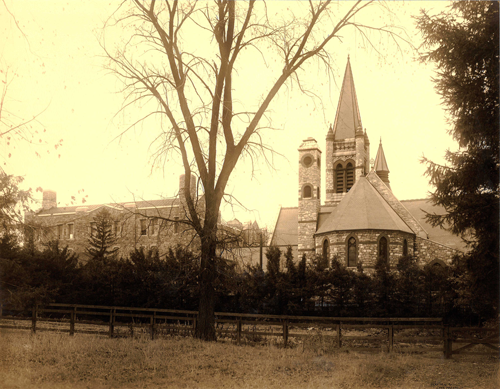 The Church exterior looking west, ca. 1914, ca. 1914